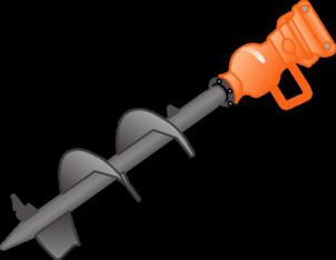 Bohrspindel  300 mm     für hydraulischen Eindrehmotor  zu Mini-Radlader + Bagger mieten leihen