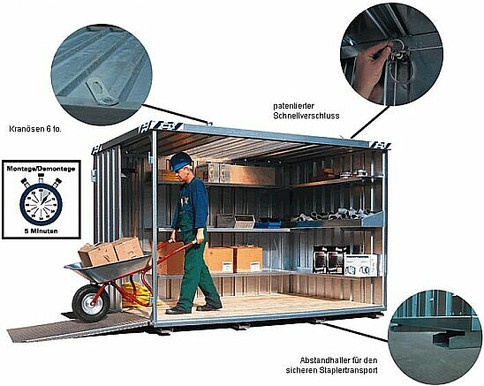 Lager- Materialcontainer 4 x 2 m  mieten leihen
