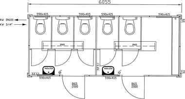 Toilettencontainer / WC-Container 2-geteilt - Objekt Nr. 112564 ... | {Toilette maße 77}