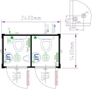WC-Container Typ 8' / WC-Duo-Box mieten leihen