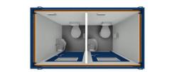 8' DUO-WC-BOX inkl. 2x 5l-Untertischspeicher mieten leihen